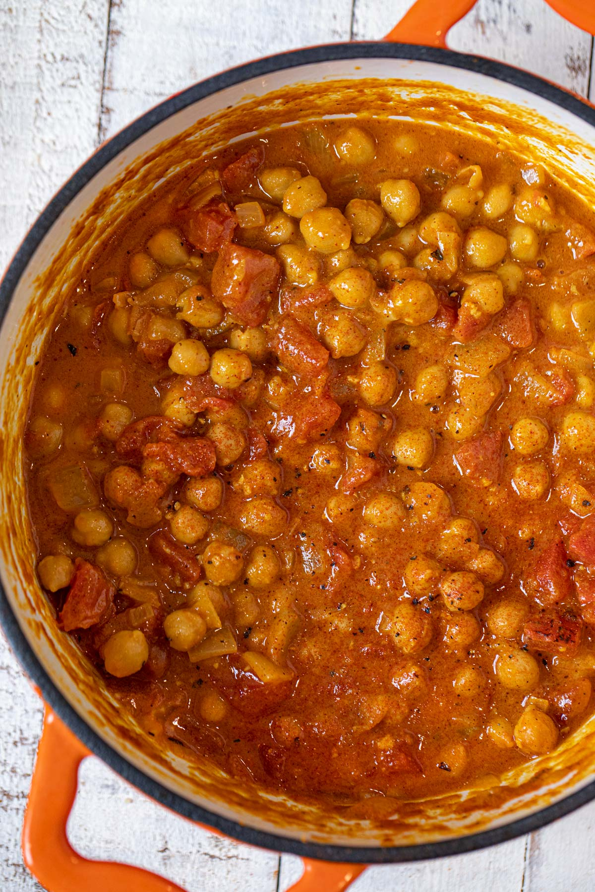 Coconut Chickpea Curry in orange dutch oven