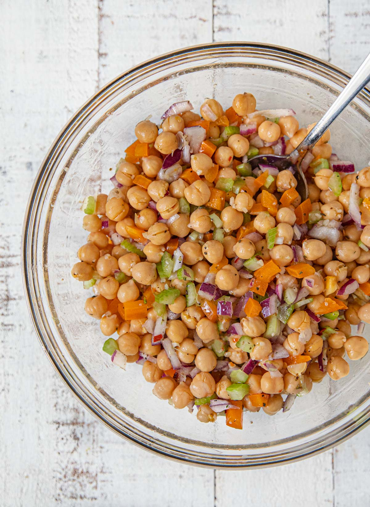 Chickpea Salad in mixing bowl