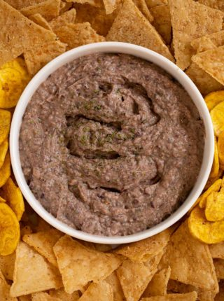 Greek Yogurt Black Bean Dip on serving tray with chips