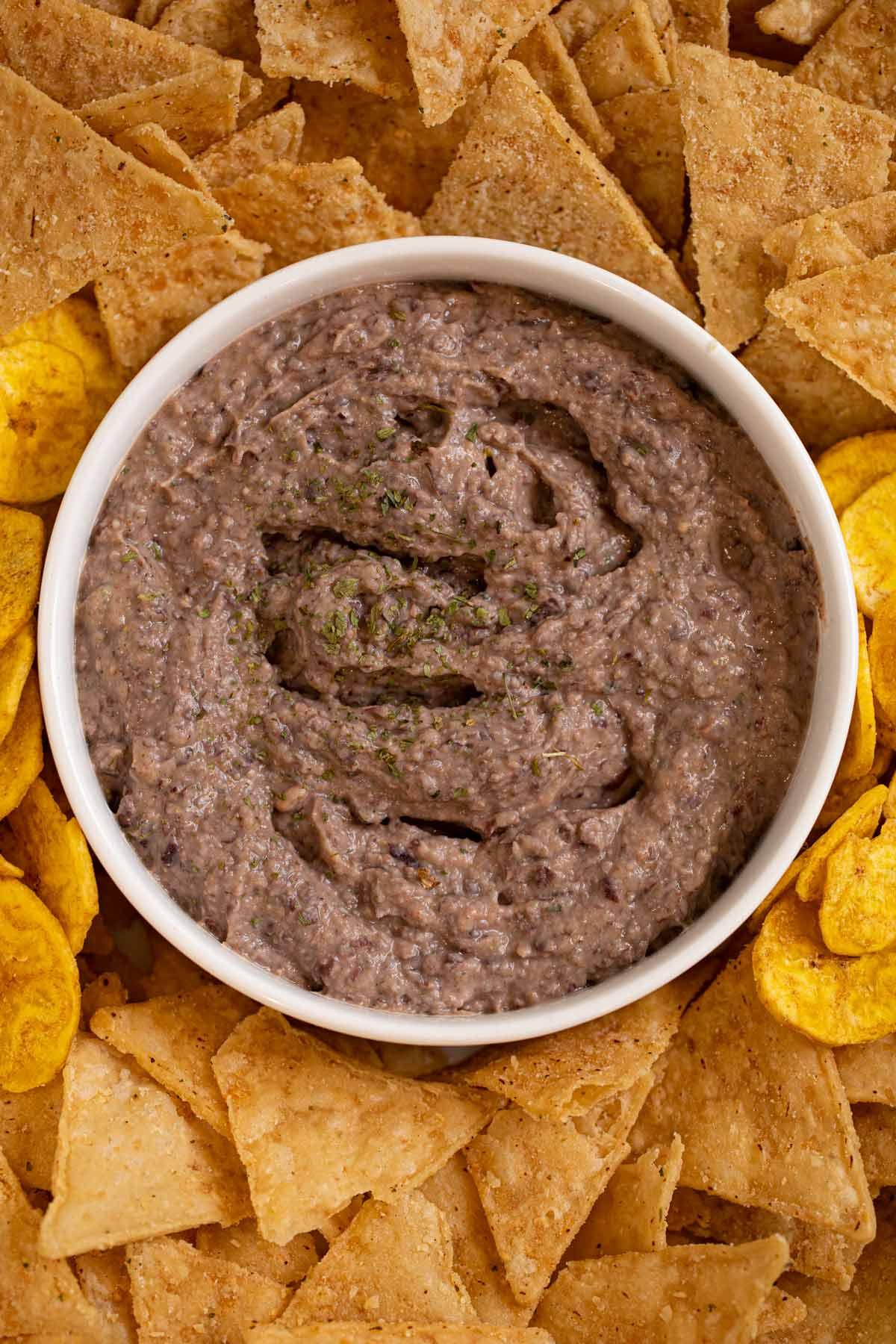 Greek Yogurt Black Bean Dip on serving tray with chips