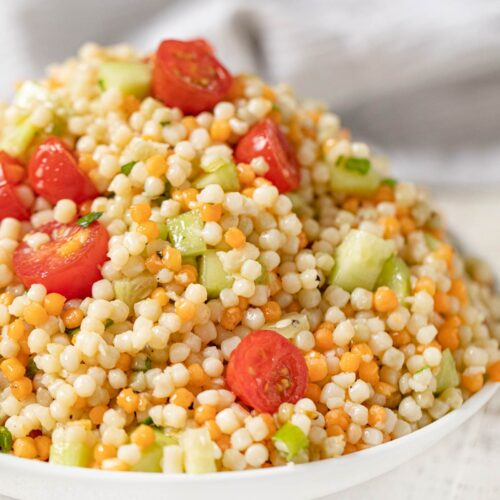 Couscous Salad in white bowl
