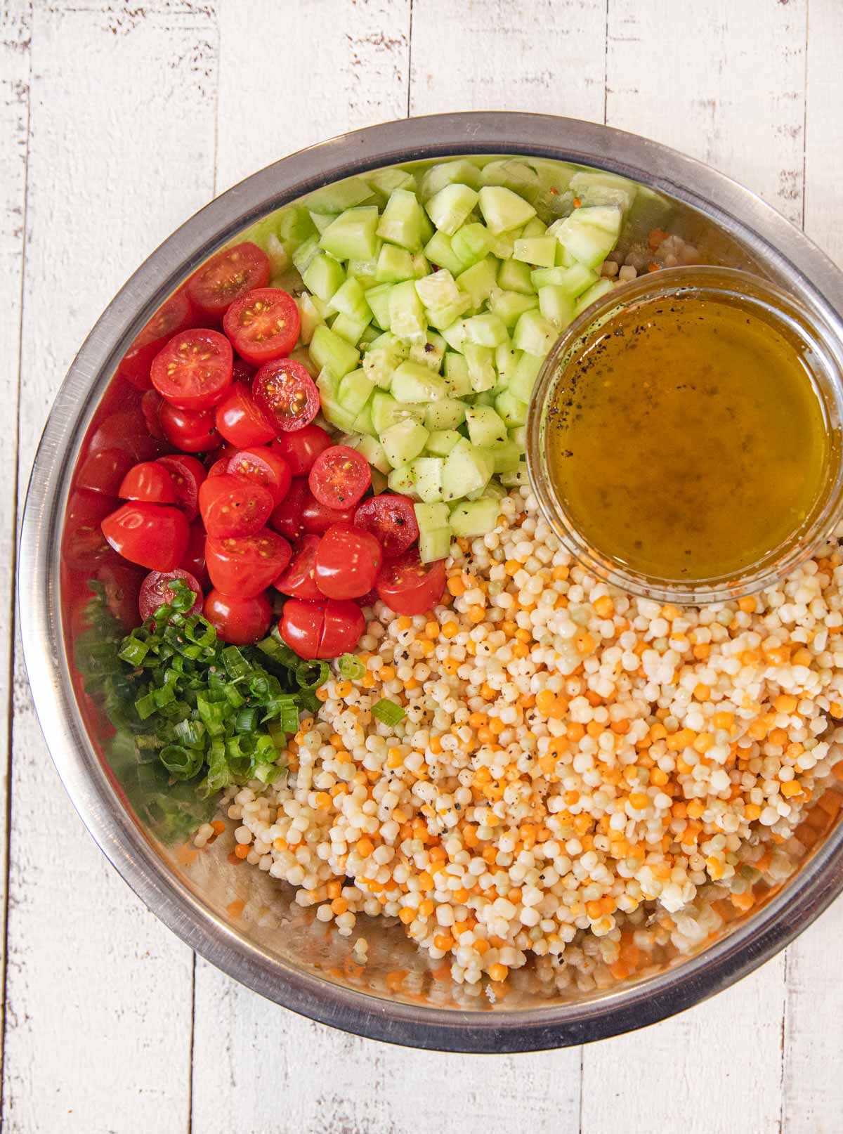 Couscous Salad Ingredients in bowl
