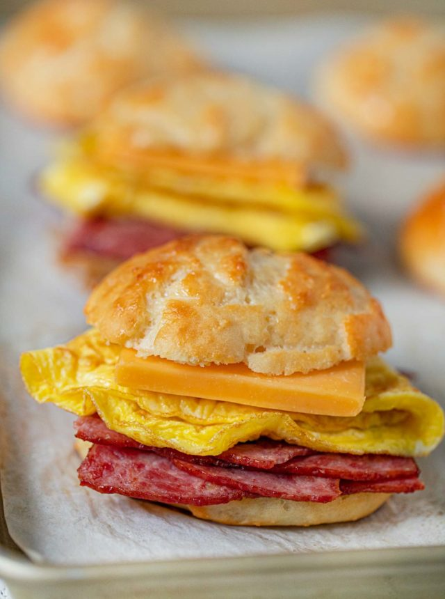 Healthy Bacon and Egg Cheese Biscuit Sandwiches on baking sheet