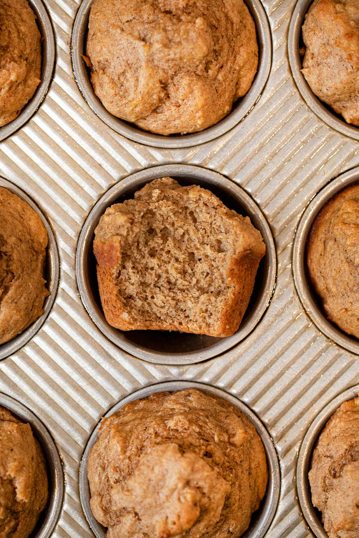 PB Banana Muffins in muffin tin
