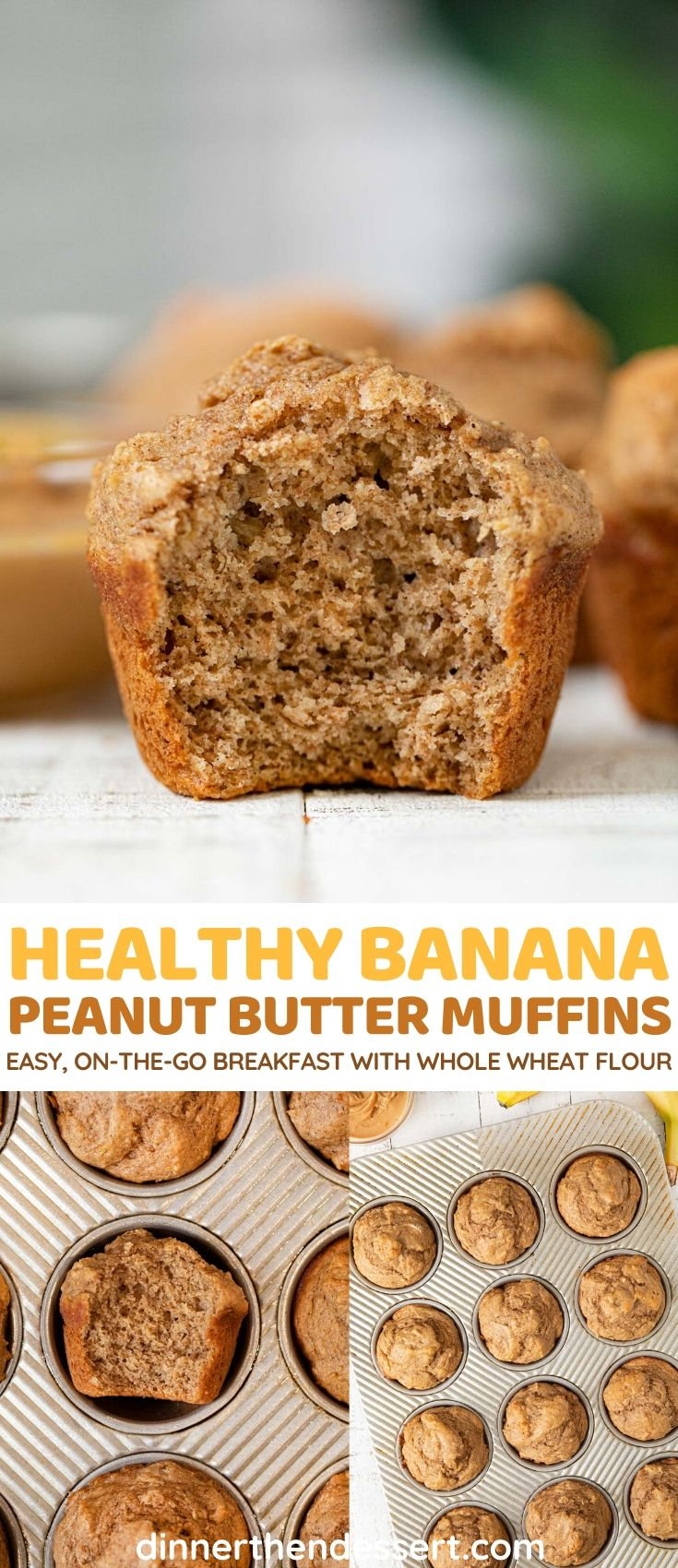 Healthy Banana Muffins with Peanut Butter