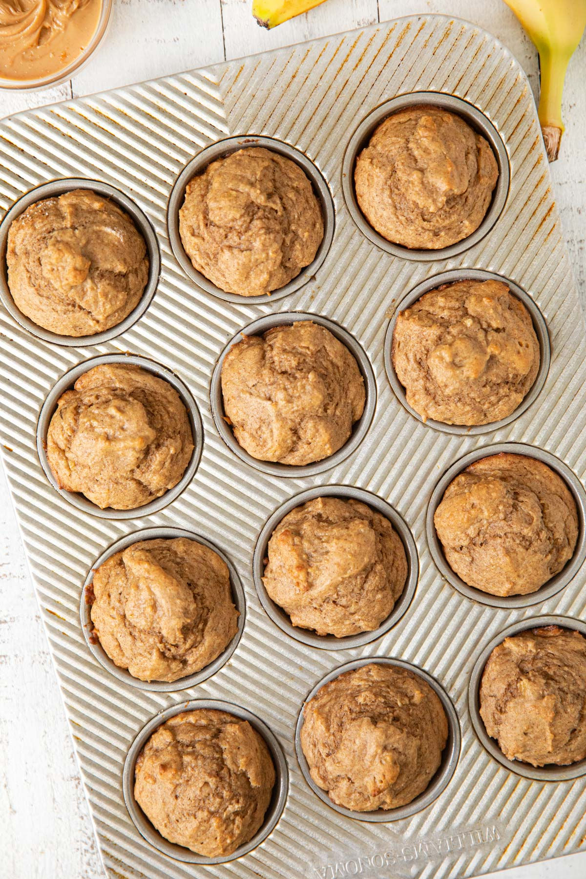 Tray of Peanut Butter Banana Muffins
