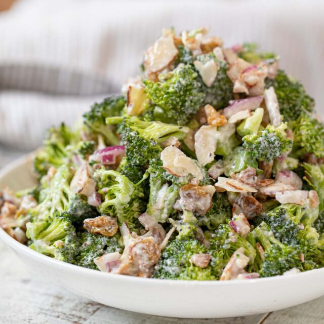 Greek Yogurt Broccoli Salad in white bowl