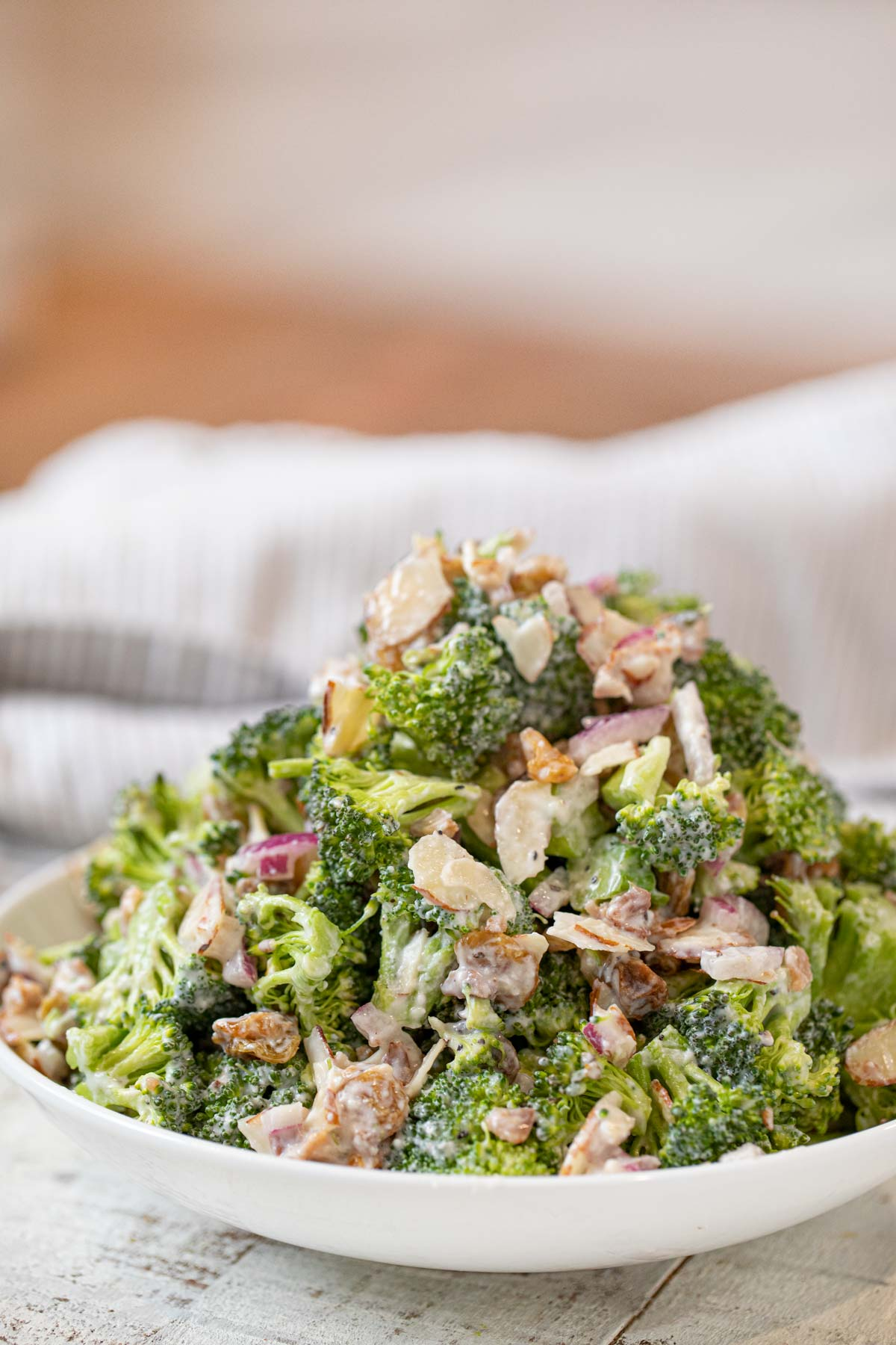 Healthy Greek Yogurt Broccoli Salad in white bowl