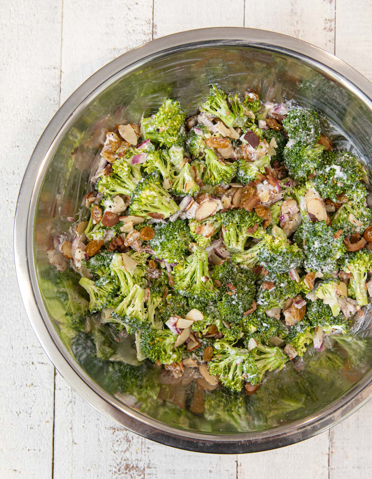Healthy Broccoli Salad in metal mixing bowl