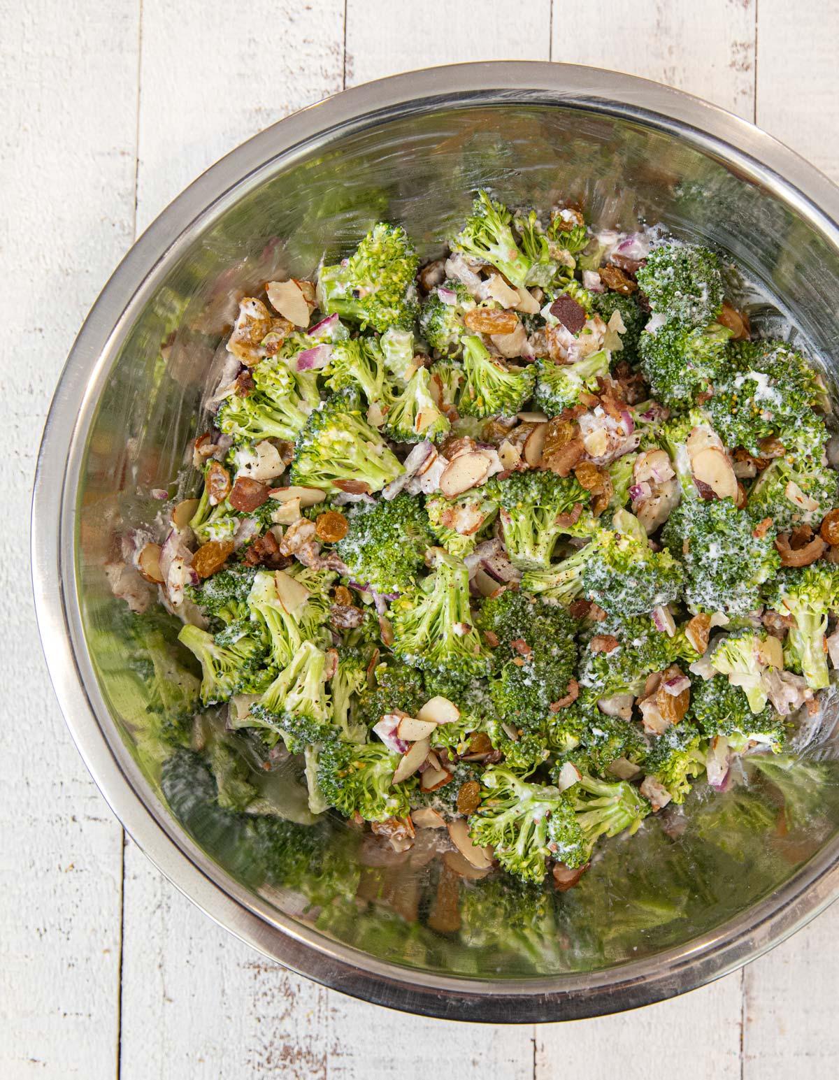 Healthy Broccoli Salad in metal mixing bowl