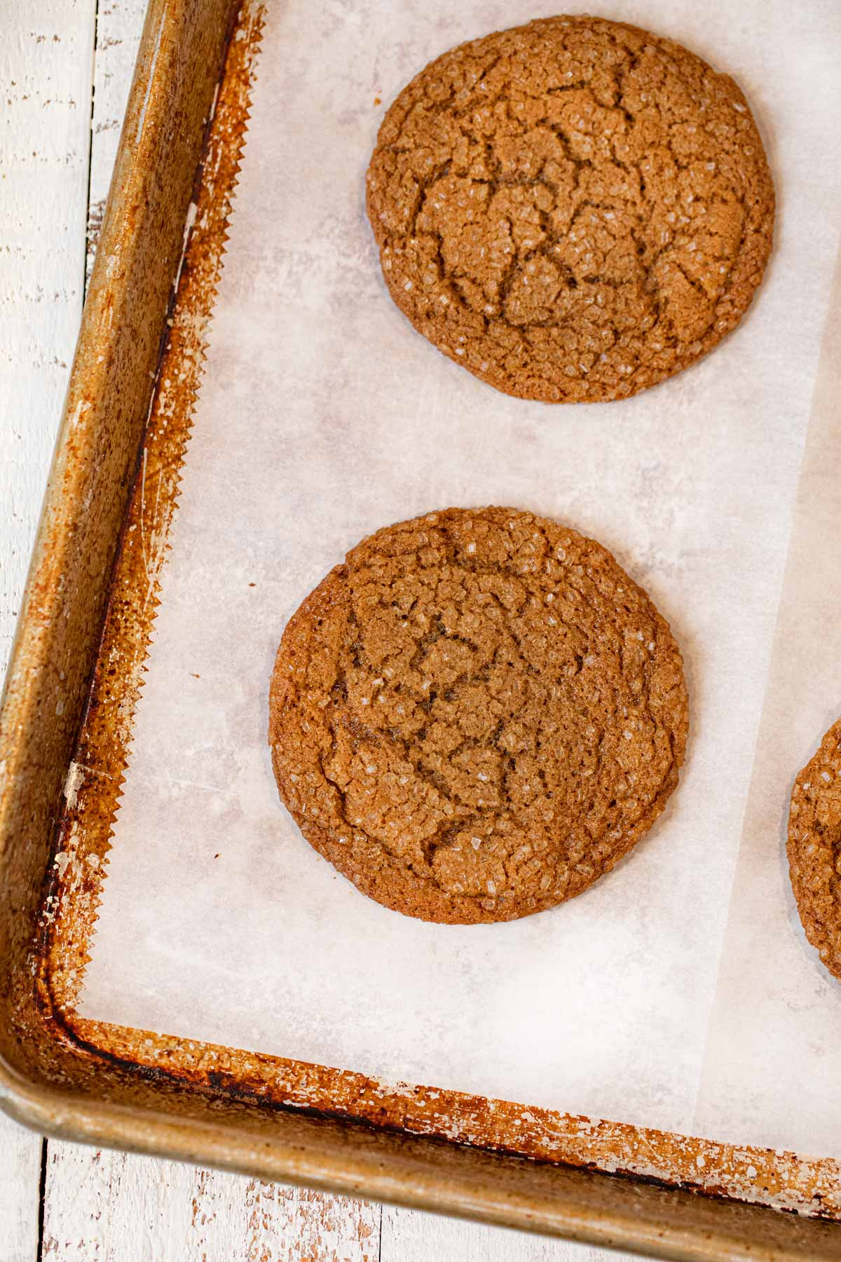 Low-fat Ginger cookies on baking sheet