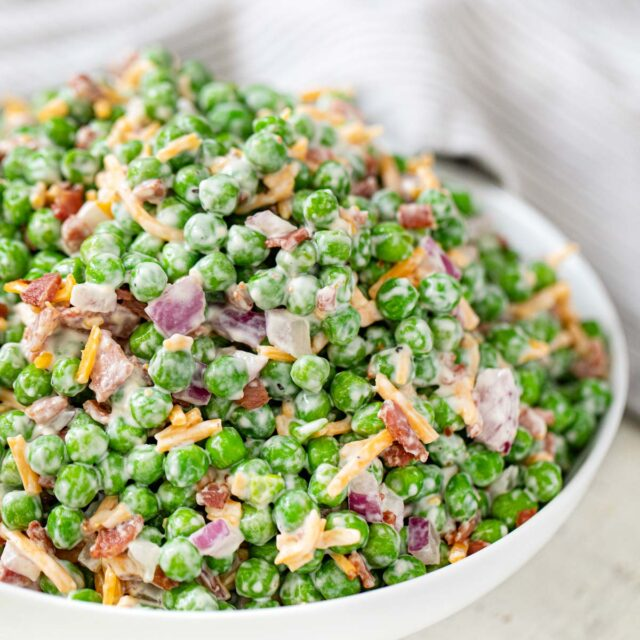 Healthy Pea and Bacon Salad in bowl