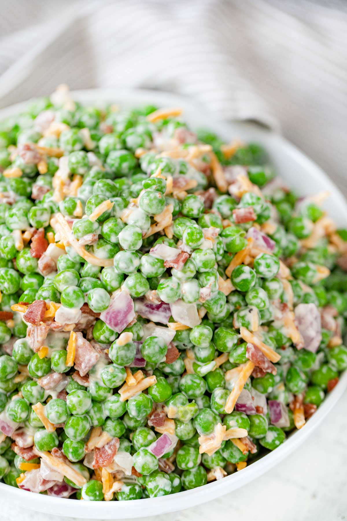 top down photo of Healthy Pea and Bacon Salad