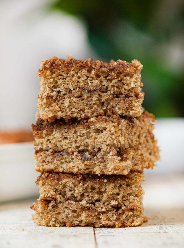 Healthy Sour Cream Coffee Cake slices in stack