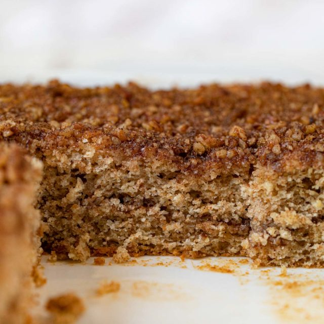 Healthy Sour Cream Coffee Cake cross-section in baking dish
