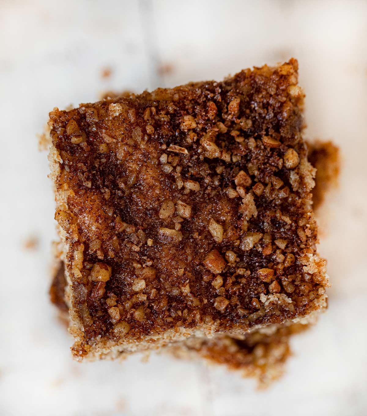 Healthy Sour Cream Coffee Cake top-down view