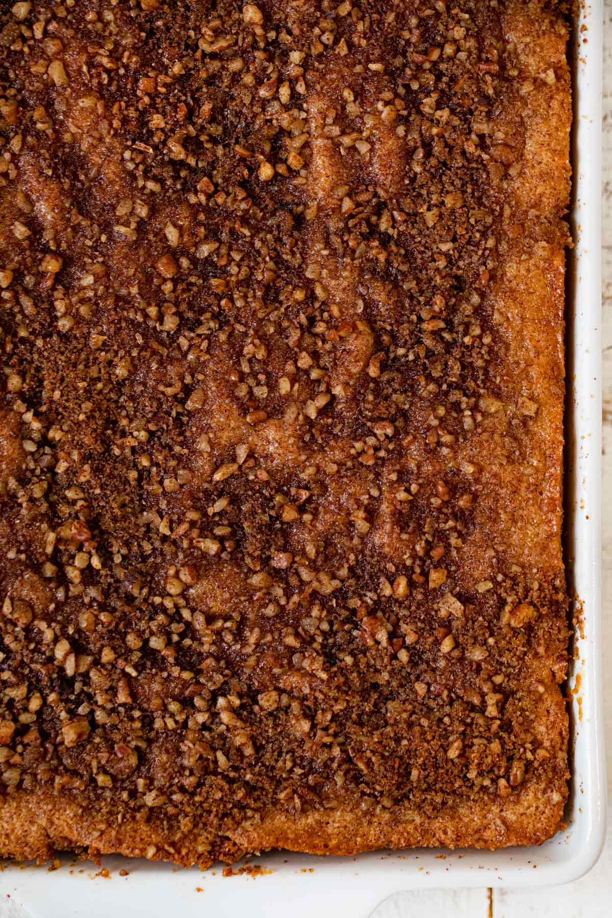 Healthy Sour Cream Coffee Cake top-down view in baking dish