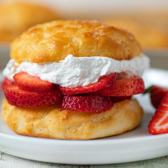 Healthy Strawberry Shortcake on plate