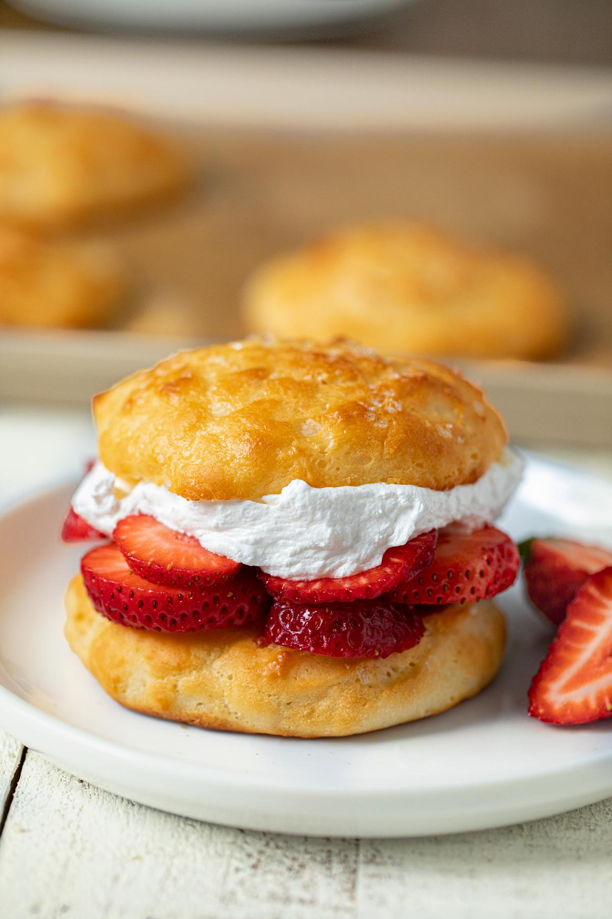 Healthy Strawberry Shortcake on plate
