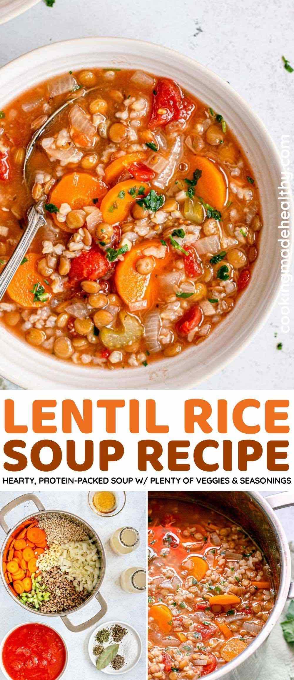 Lentil Rice Soup Collage