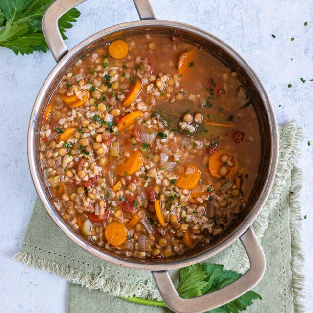 Lentil Rice Soup in pot