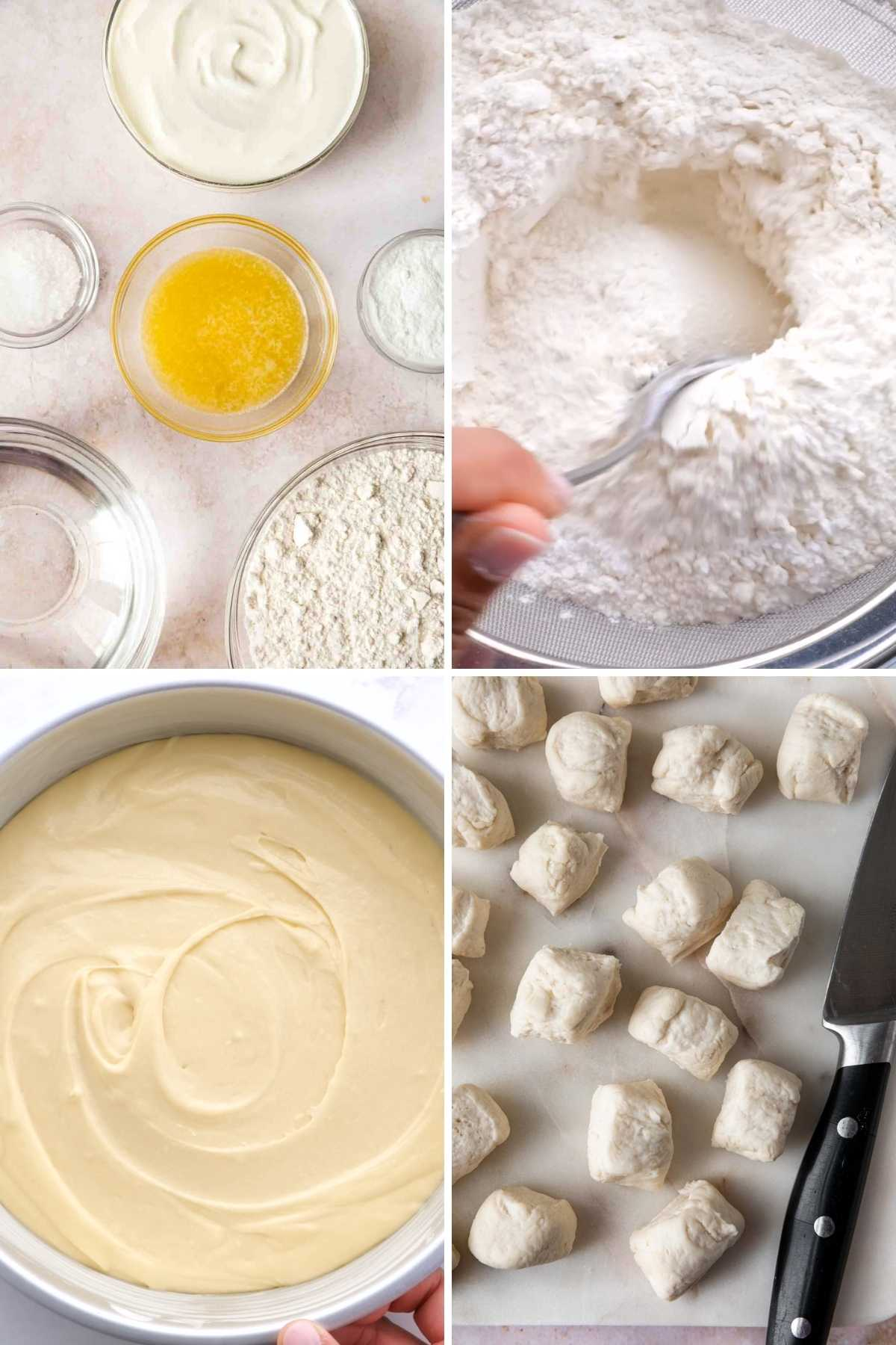 Easy Pretzel Bites collage of prep steps for making dough