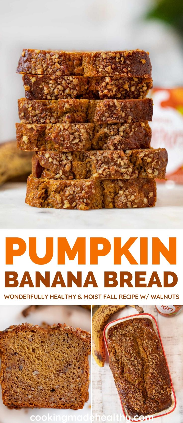 Whole Wheat Pumpkin Banana Bread collage