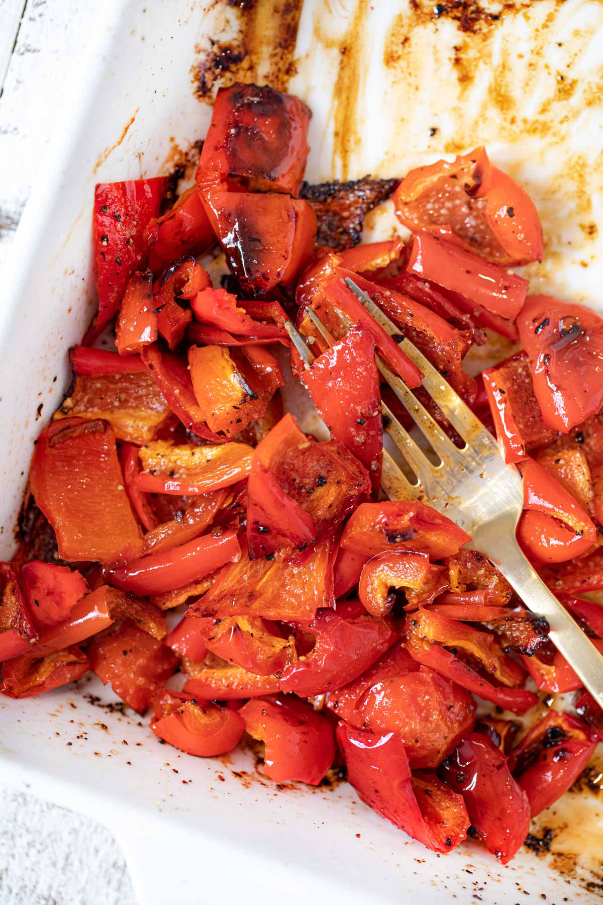 Roasted Red Bell Peppers in baking dish