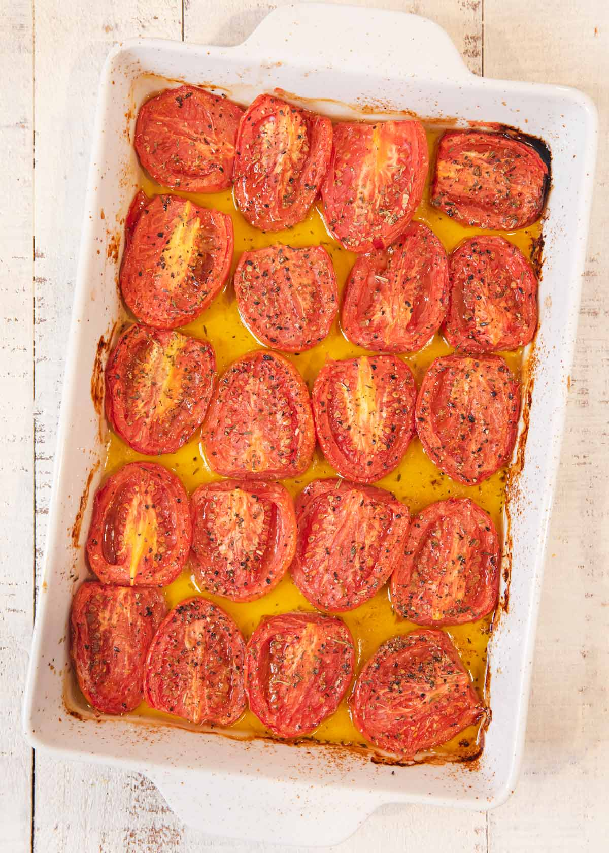 Roasted Tomatoes in baking pan