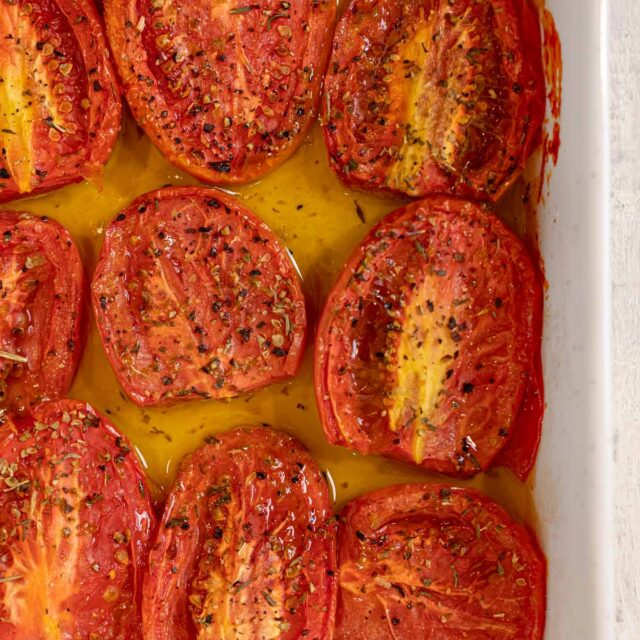 top down Roasted Tomatoes
