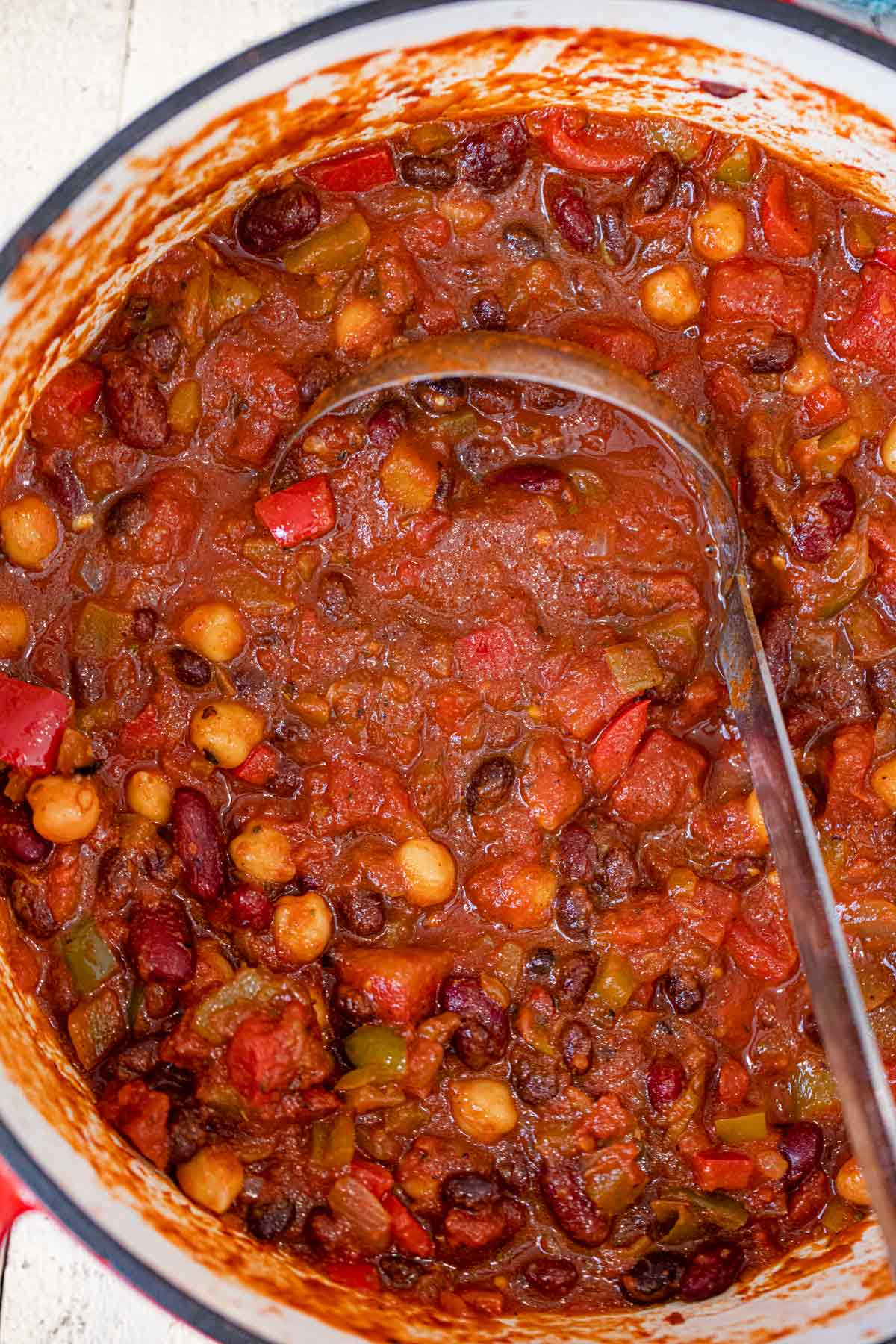 Vegetarian Chili with ladle