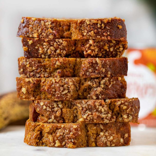 Whole Wheat Banana Pumpkin Bread slices in stack