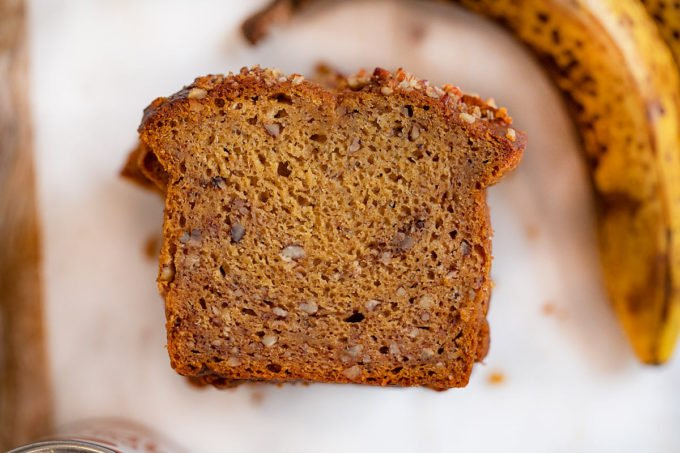 Whole Wheat Banana Pumpkin Bread cross-section