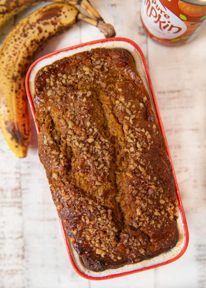 Whole Wheat Banana Pumpkin Bread in loaf pan
