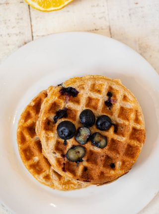 Whole Wheat Yogurt Blueberry Waffles on plate