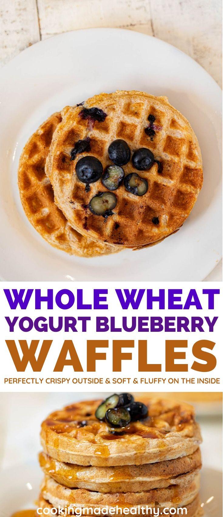 Healthy Yogurt Blueberry Waffles collage