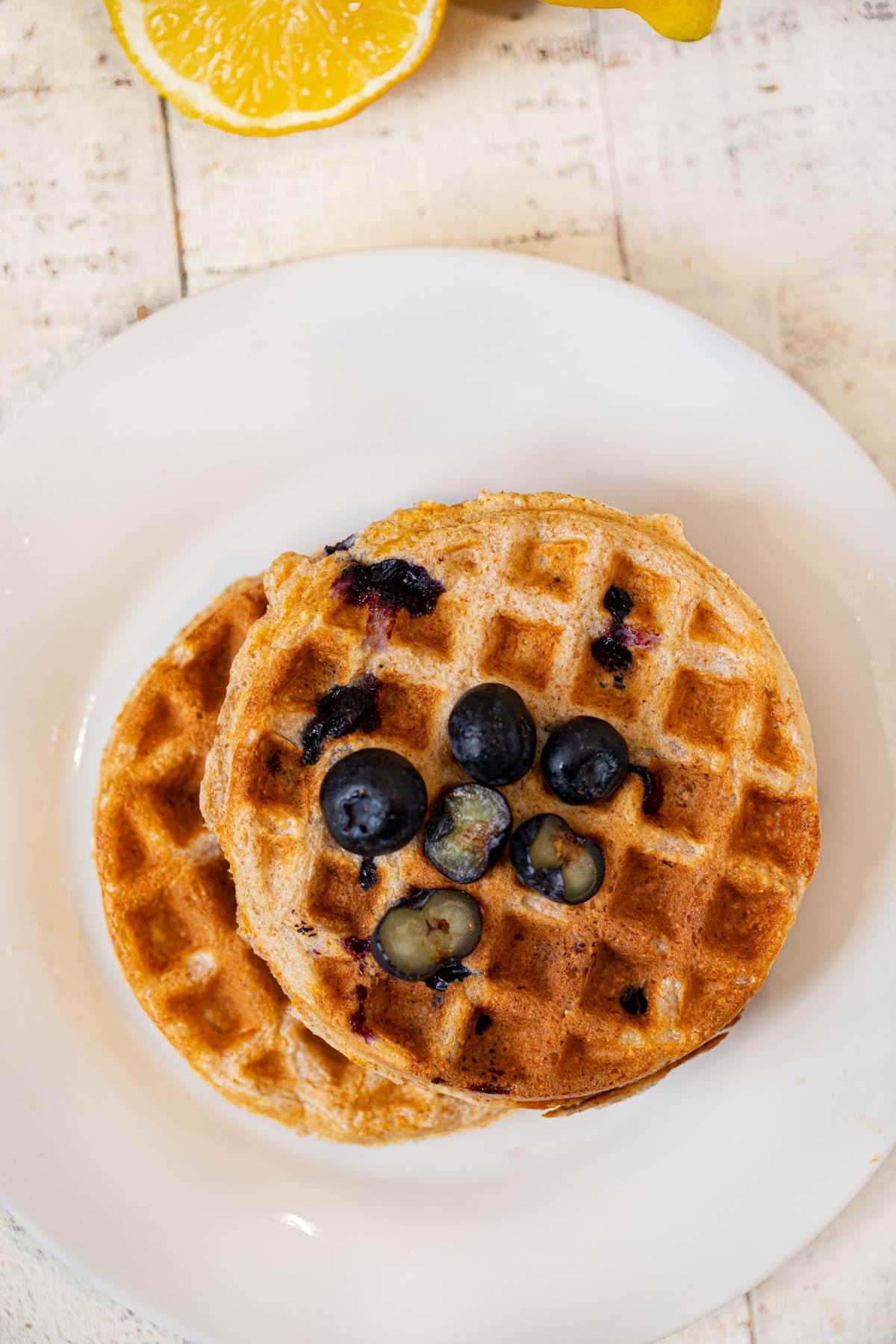 Whole Wheat Yogurt Blueberry Waffles on plate