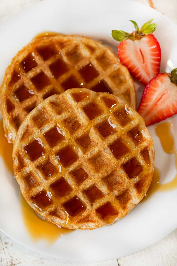 Yogurt Waffles on plate with syrup