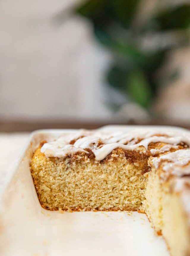 Healthy Cinnamon Roll Cake in baking dish