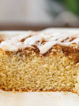 Healthy Cinnamon Roll Cake in baking dish