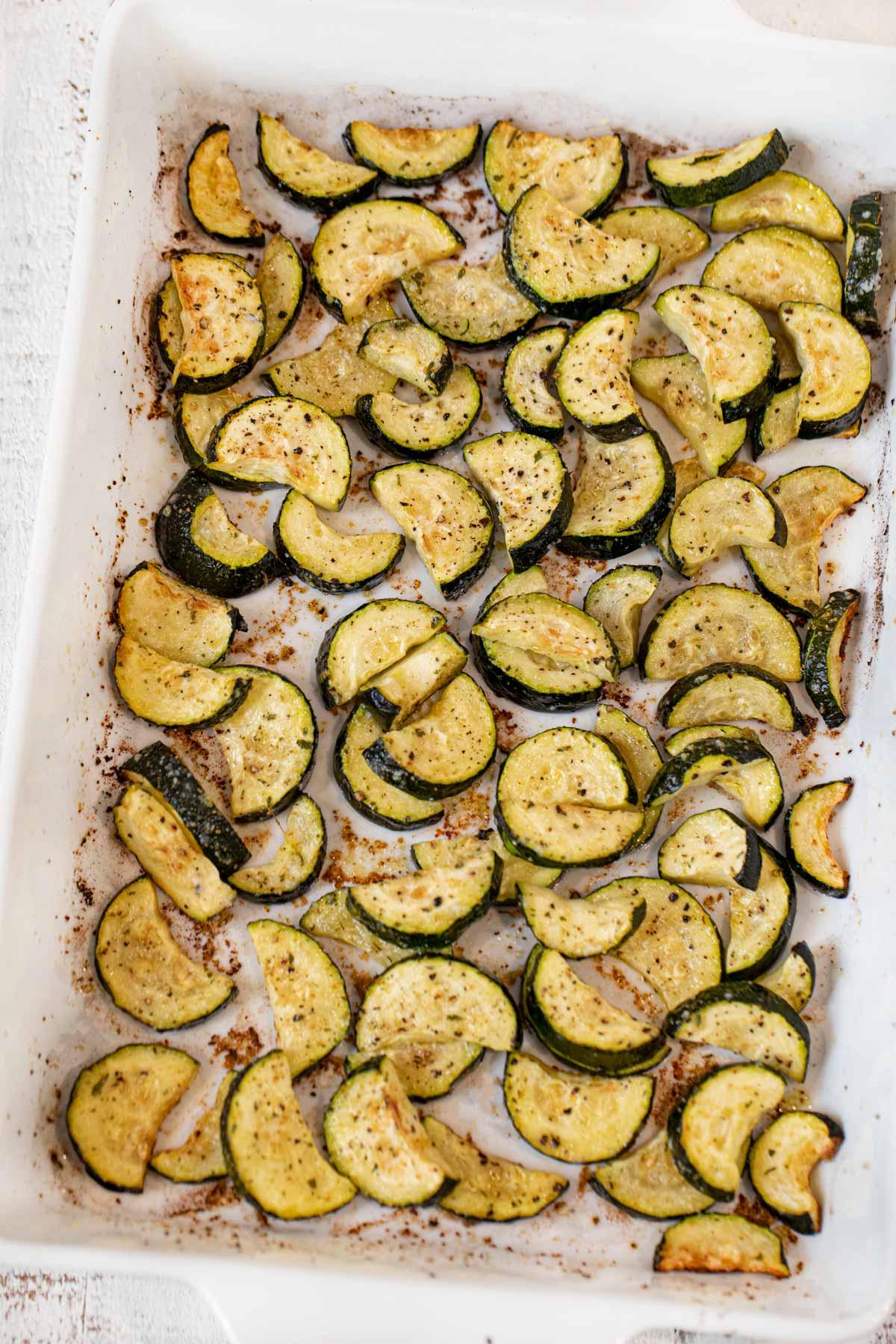 Roasted Zucchini in baking dish