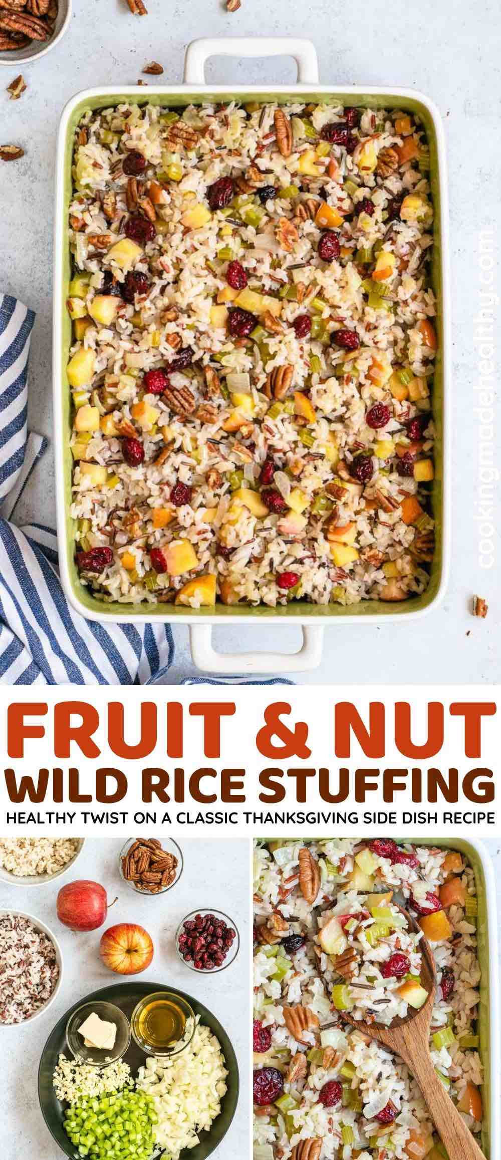 Fruit and Nut Wild Rice Stuffing collage