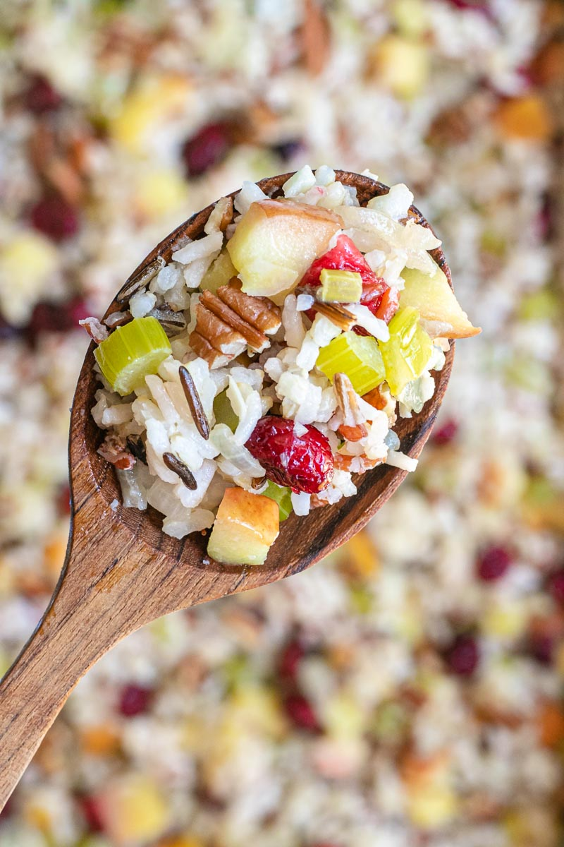 Fruit and Nut Wild Rice Stuffing close up on spoon