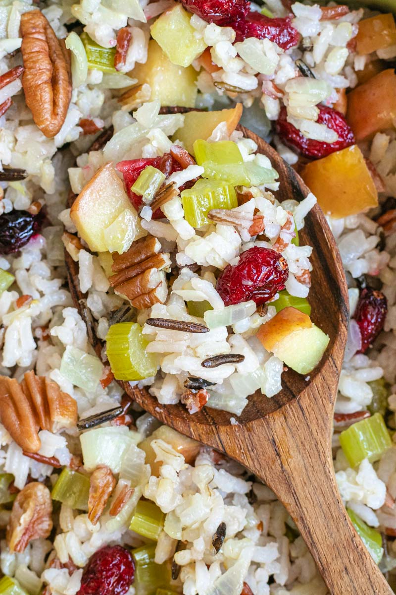 Fruit and Nut Wild Rice Stuffing close up