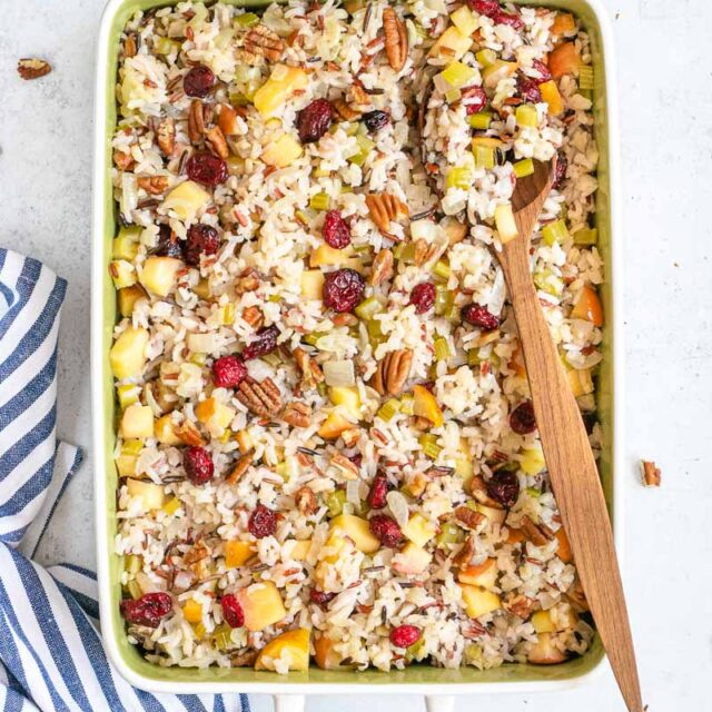 Fruit and Nut Wild Rice Stuffing in baking dish