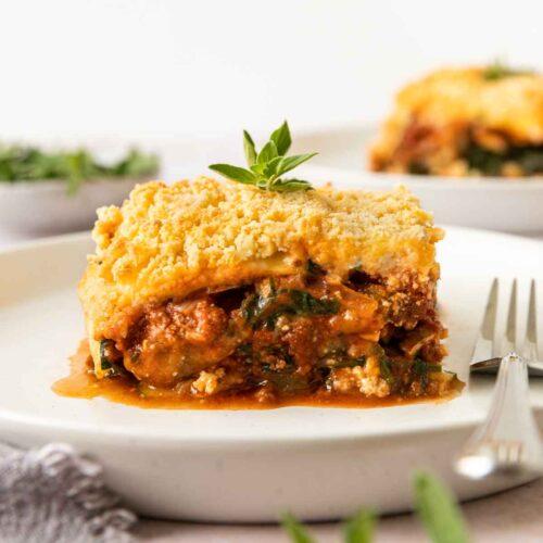 Zucchini Lasagna serving on plate