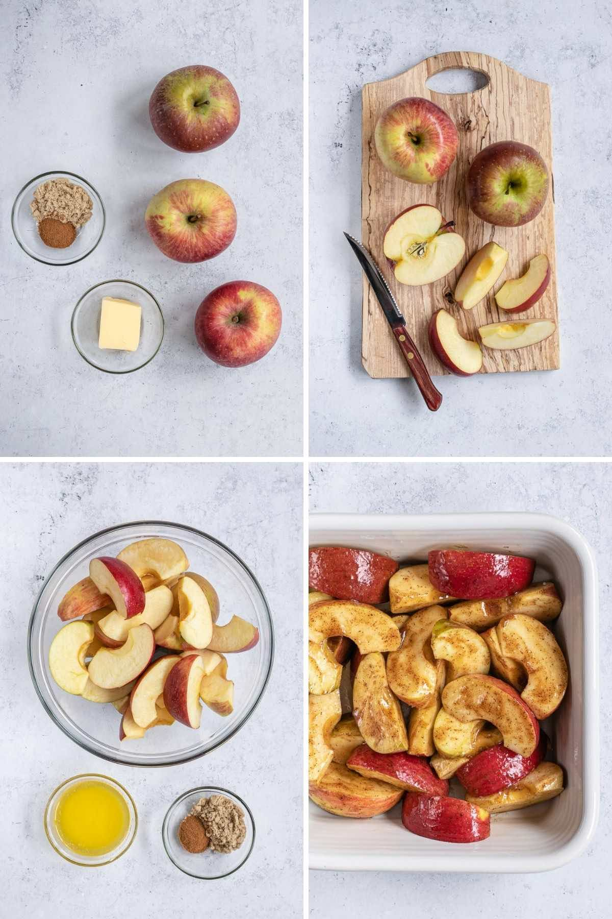 Healthy Baked Sliced Apples Collage