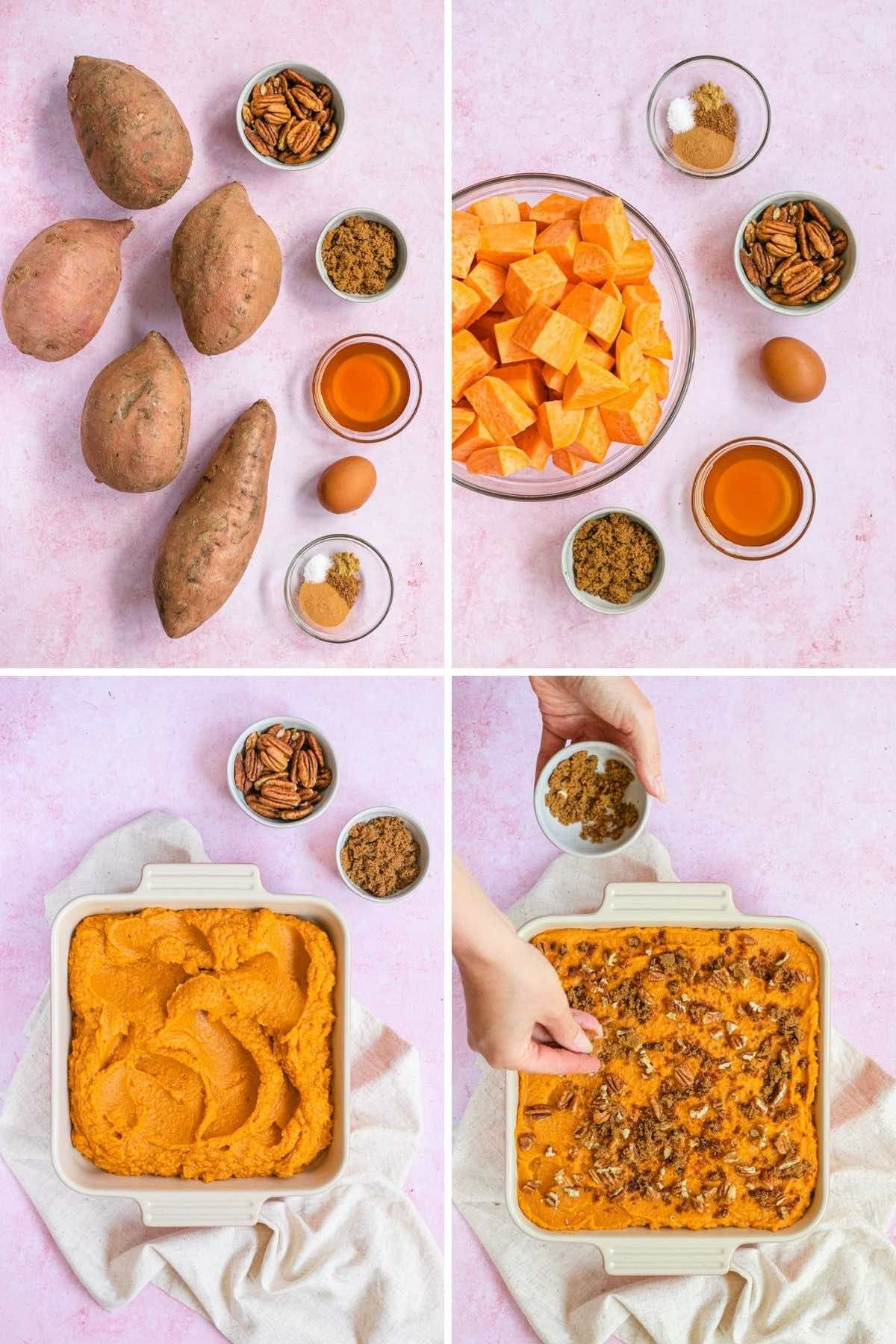Healthy Sweet Potato Casserole collage