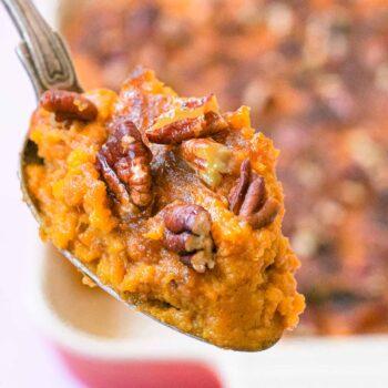 Healthy Sweet Potato Casserole on spoon