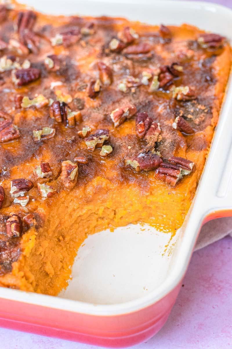 Healthy Sweet Potato Casserole finished in pan
